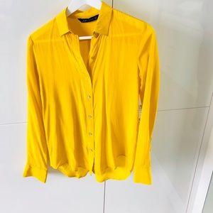 Zara bright yellow 100% silk shirt